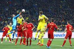 UEFA-EURO 2016 die om spel de Oekraïne versus Spanje kwalificeren Stock Fotografie