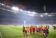 UEFA-EURO Endspiel 2012 Spanien gegen Italien Stockfotos