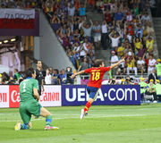 UEFA EURO 2012 Final game Spain vs Italy. KYIV, UKRAINE - JULY 1, 2012: Jordi Alba of Spain (in Red) reacts after scored a goal during UEFA EURO 2012 Final game Royalty Free Stock Photography