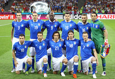 UEFA EURO 2012 Final game Spain vs Italy. KYIV, UKRAINE - JULY 1, 2012: Italy national football team pose for a group photo before UEFA EURO 2012 Final game Stock Photo
