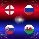 UEFA EURO 2016 football with flags of group B Stock Images