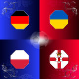 UEFA EURO 2016 football with flags of group C Royalty Free Stock Image