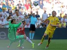 UEFA EURO 2016 game Ukraine v Poland. MARSEILLE, FRANCE - JUNE 21, 2016: Robert Lewandowski of Poland C attacks during UEFA EURO 2012 game against Ukraine at stock image