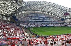 UEFA EURO 2016 game Ukraine v Poland. MARSEILLE, FRANCE - JUNE 21, 2016: Tribunes of Stade Velodrome during UEFA EURO 2016 game Ukraine v Poland royalty free stock photography