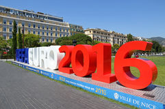 UEFA EURO 2016 letters at Promenade du Paillon in Nice, France Stock Image