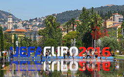 UEFA EURO 2016 letters at Promenade du Paillon in Nice, France Royalty Free Stock Photo
