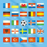 UEFA EURO 2016 member countries vector flags. The flags of members of European championship 2016 Stock Image