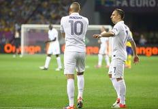 Uefa-EURO 2012 modiga Sverige vs Frankrike Arkivfoton