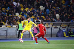 UEFA-EURO Qualifikationsrundespiel 2016 Ukraine gegen Spanien Lizenzfreie Stockfotografie