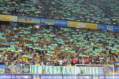 UEFA EURO 2020 Qualifying round: Ukraine - Serbia. LVIV, UKRAINE - JUNE 7, 2019: Ukrainian supporters show their support during the UEFA EURO 2020 Qualifying stock photo