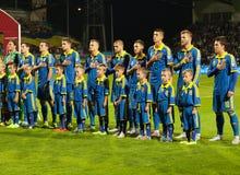 UEFA-EURO Slowakei 2016 - Ukraine passen am 8. September 2015 zusammen Lizenzfreies Stockfoto