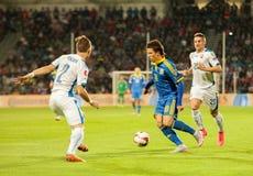 UEFA-EURO Slowakei 2016 - Ukraine passen am 8. September 2015 zusammen Lizenzfreie Stockfotos