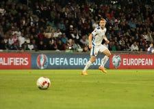 UEFA-EURO Slowakei 2016 - Ukraine passen am 8. September 2015 zusammen Stockfotografie