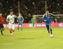 UEFA-EURO Slowakei 2016 - Ukraine passen am 8. September 2015 zusammen Lizenzfreie Stockfotografie
