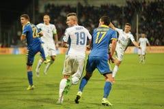 UEFA-EURO Slowakei 2016 - Ukraine passen am 8. September 2015 zusammen Lizenzfreies Stockbild