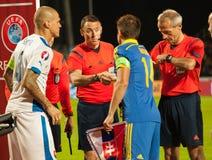 UEFA-EURO Slowakei 2016 - Ukraine passen am 8. September 2015 zusammen Stockbilder