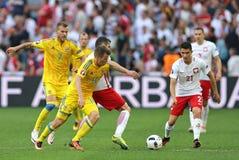 UEFA-EURO 2016 spel de Oekraïne v Polen Royalty-vrije Stock Foto