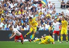 UEFA-EURO 2016 spel de Oekraïne v Polen Stock Afbeeldingen