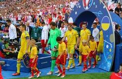 UEFA-EURO 2016 spel de Oekraïne v Polen Royalty-vrije Stock Foto's