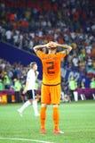 UEFA-EURO 2012 spel Nederland versus Duitsland Royalty-vrije Stock Foto's