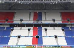 UEFA EURO 2016: Stade de Lyon, France. LYON, FRANCE - JUNE 15, 2016: Tribunes of Stade de Lyon during Open training session of Ukraine National Football Team Royalty Free Stock Image