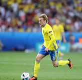 UEFA EURO 2016: Sweden v Belgium. NICE, FRANCE - JUNE 22, 2016: Emil Forsberg of Sweden controls a ball during UEFA EURO 2016 game against Belgium at Allianz Royalty Free Stock Image
