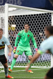 UEFA EURO 2016: Sweden v Belgium. NICE, FRANCE - JUNE 22, 2016: Goalkeeper Thibaut Courtois of Belgium in action during UEFA EURO 2016 game against Sweden at Royalty Free Stock Images