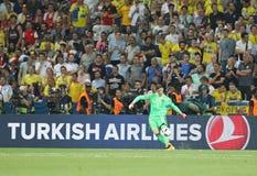 UEFA EURO 2016: Sweden v Belgium. NICE, FRANCE - JUNE 22, 2016: Goalkeeper Thibaut Courtois of Belgium in action during UEFA EURO 2016 game against Sweden at Royalty Free Stock Images