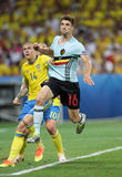 UEFA EURO 2016: Sweden v Belgium. NICE, FRANCE - JUNE 22, 2016: Victor Lindelof of Sweden (L) fights for a ball with Thomas Meunier of Belgium during their UEFA Stock Photography