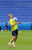 UEFA EURO 2016: Ukraine pre-match training in Lyon Stock Image