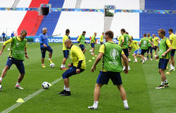 UEFA EURO 2016: Ukraine pre-match training in Lyon Stock Photos