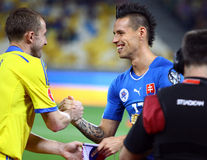 Uefa-EUROkvalificering 2016 modiga Ukraina vs Slovakien Arkivbilder