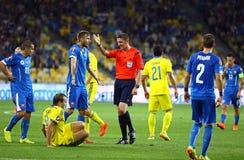 Uefa-EUROkvalificering 2016 modiga Ukraina vs Slovakien Arkivfoto