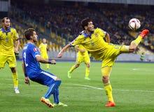 Uefa-EUROkvalificering 2016 modiga Ukraina vs Slovakien Arkivfoton