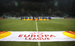 UEFA Europa League banner at the field Stock Photos