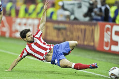UEFA Europa League Final Bucharest 2012. Athletico Madrid player fighting for the ball during the UEFA Europa League Final 2012  football match between Atletic Stock Image