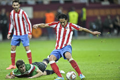 UEFA Europa League Final Bucharest 2012. Falcao, Athletico Madrid player, kicking the ball during the UEFA Europa League Final 2012 football match between stock images