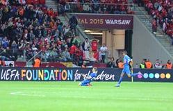 UEFA Europa League Final game Dnipro vs Sevilla. WARSAW, POLAND - MAY 27, 2015: FC Dnipro players (Ruslan Rotan and Leo Matos) celebrate after Rotan scored a Royalty Free Stock Photo
