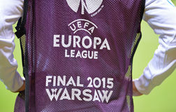 UEFA Europa League 2015 Final: Training session. WARSAW, POLAND - MAY 27, 2015: Shirtfront with Europa League logo on the player during Training session before Royalty Free Stock Image
