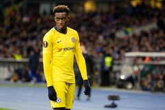 UEFA Europa League football match Dynamo Kyiv – Chelsea, March 14, 2019. Kyiv, Ukraine - March 14, 2019: Callum Hudson-Odoi of Chelsea in action during royalty free stock photography