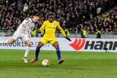 UEFA Europa League football match Dynamo Kyiv – Chelsea, March 14, 2019. Kyiv, Ukraine - March 14, 2019: Callum Hudson-Odoi of Chelsea in action during stock image