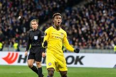 UEFA Europa League football match Dynamo Kyiv – Chelsea, March 14, 2019. Kyiv, Ukraine - March 14, 2019: Callum Hudson-Odoi of Chelsea celebtrates scoring stock photo