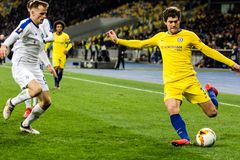 UEFA Europa League football match Dynamo Kyiv – Chelsea, March 14, 2019. Kyiv, Ukraine - March 14, 2019: Marcos Alonso of Chelsea in action during UEFA royalty free stock images