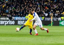 UEFA Europa League football match Dynamo Kyiv – Chelsea, March 14, 2019. Kyiv, Ukraine - March 14, 2019: N`golo Kante of Chelsea fighting for the ball royalty free stock photo