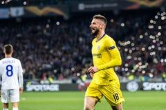 UEFA Europa League football match Dynamo Kyiv – Chelsea, March 14, 2019. Kyiv, Ukraine - March 14, 2019: Olivier Giroud of Chelsea celebrates scoring a royalty free stock images