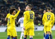 UEFA Europa League football match Dynamo Kyiv – Chelsea, March 14, 2019. Kyiv, Ukraine - March 14, 2019: Olivier Giroud and Willian of Chelsea celebrates royalty free stock photo