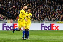 UEFA Europa League football match Dynamo Kyiv – Chelsea, March 14, 2019. Kyiv, Ukraine - March 14, 2019: Olivier Giroud and Willian of Chelsea celebrates stock image