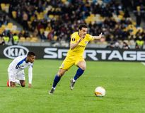 UEFA Europa League football match Dynamo Kyiv – Chelsea, March 14, 2019. Kyiv, Ukraine - March 14, 2019: Pedro of Chelsea in action during UEFA Europa royalty free stock photography