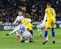UEFA Europa League football match Dynamo Kyiv – Chelsea, March 14, 2019. Kyiv, Ukraine - March 14, 2019: Players in action during UEFA Europe League match royalty free stock photos