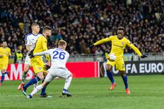 UEFA Europa League football match Dynamo Kyiv – Chelsea, March 14, 2019. Kyiv, Ukraine - March 14, 2019: Players in action during UEFA Europe League match stock photos